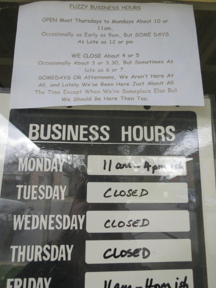 This was on the door, and the shop was shut.