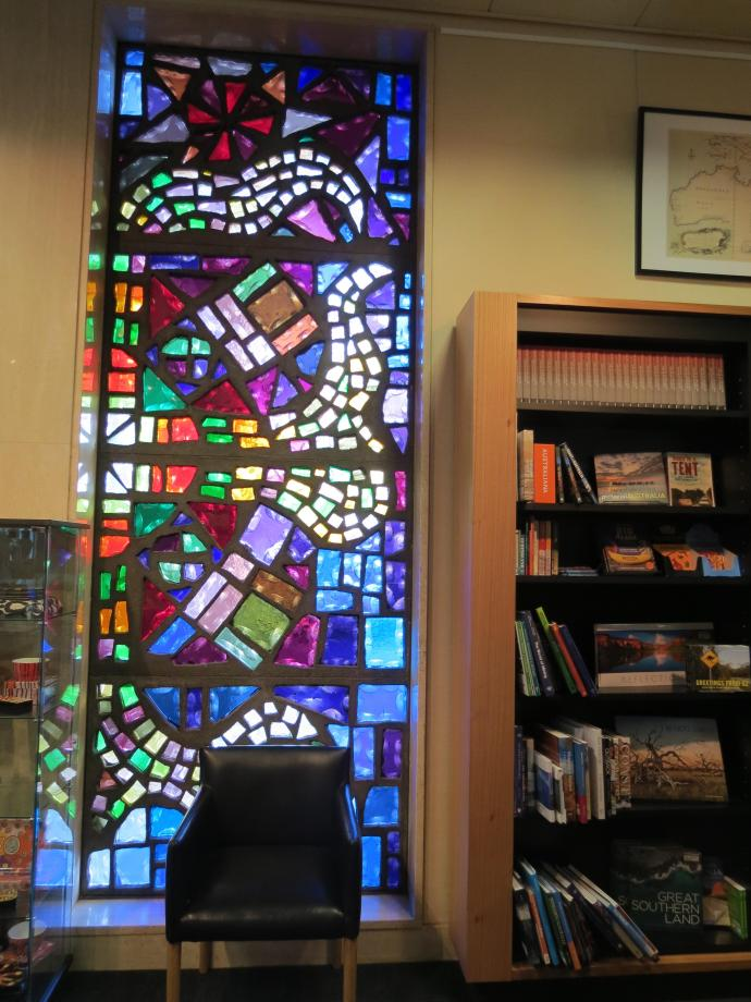 The book shop also had stained glass windows