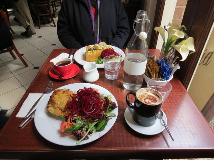 This is our choice quiche for me, mini shepherds pie for Jack, Look at that fresh salad.