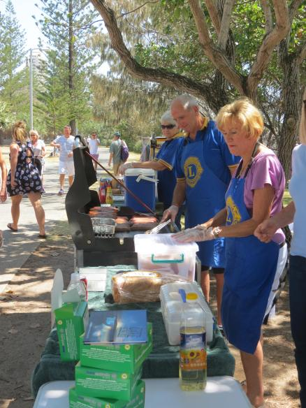 Sausage sizzle, hot work for the Lions club.
