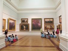 Groups of school children are being shown to appreciate art