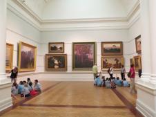 Groups of school children are being shown to appreciate art